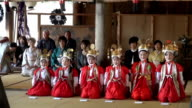 Video footage taken on April 25Japan at the Kawaguchi Asamajinja shrine in Fujikawaguchiko Yamanashi Prefecture shows six elementary school girls...