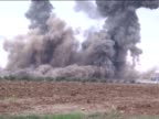 A video footaged from Suruc district of Sanliurfa Turkey shows smoke rising from an explosion in the Syrian border town of Kobani following a USled...