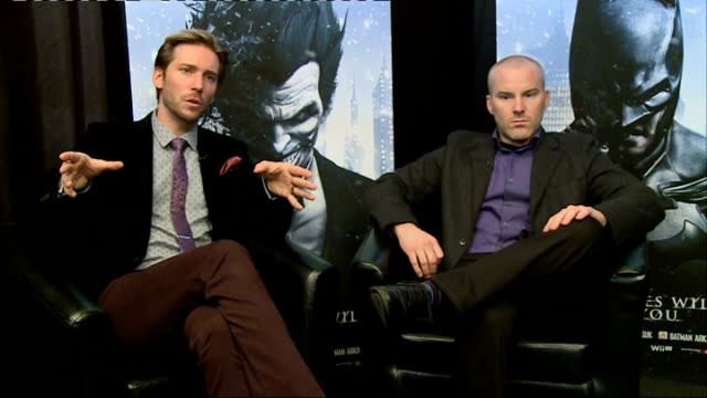 'Batman Arkham Origins' launch event ENGLAND INT Roger Craig Smith and Troy Baker joint interview SOT