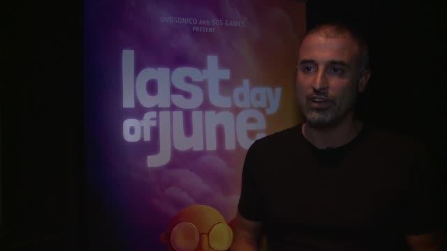 'Last Day of June' Massimo Guarini interview ENGLAND London INT Massimo Guarini interview SOT