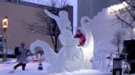 Video image shows participants in '2016 World Ice Sculpture Competition' in Japan's northern city of Asahikawa creating ice statues Around 70...