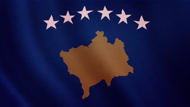 4-K Video : Kosovo waving flag