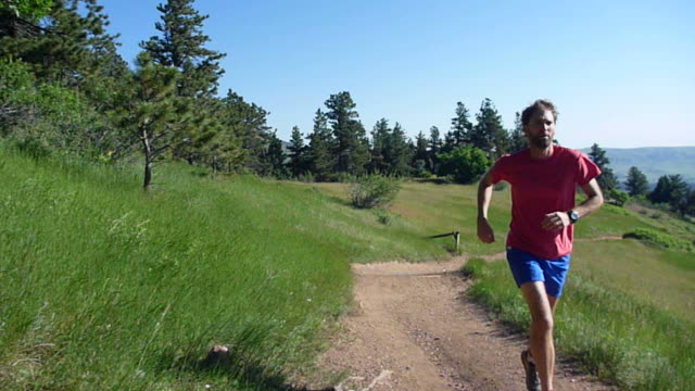 HD video man trail runs Mount Falcon Colorado Rocky mountains