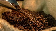 Video of falling coffee beans in real slow motion