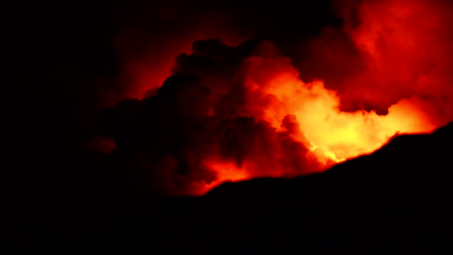 Video of Fire Erupting Volcanoes National Park Hawaii