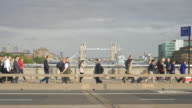 Video of London Commuters with Tower Bridge in the background