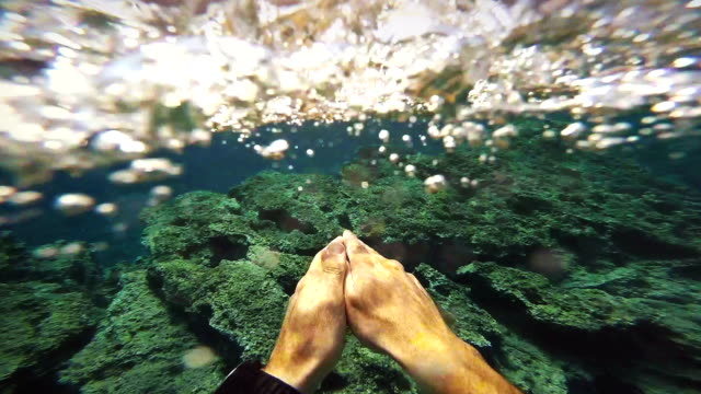 POV video of man swimming in the blue sea