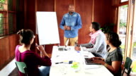 Video portrait African businessman leads creative team