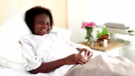 Video portrait young African girl in hospital bed