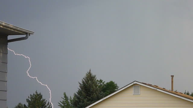 HD video repeated lightning strikes over Denver homes