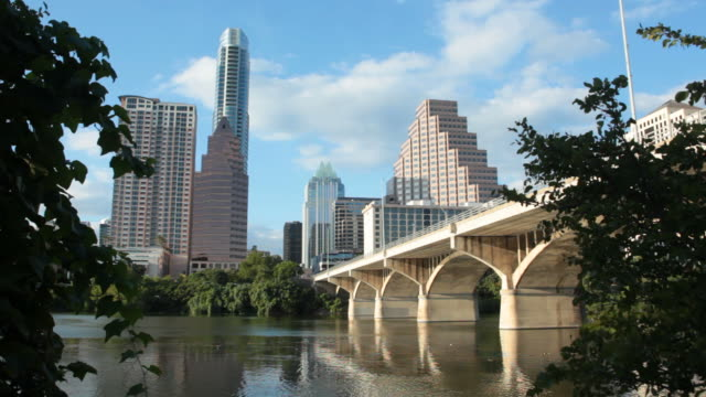 HD video rippling waters and downtown Austin Texas
