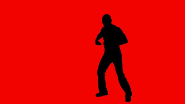 Video-silhouette des schwarzen männliche hip-hop-Tänzer
