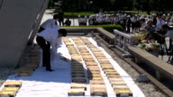 Video taken on May 17 Japan at the Hiroshima Peace Memorial Park shows municipal workers offering a moment of silence before laying out for airing...