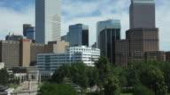 HD video tilt up Downtown Denver skyline