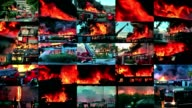 Video wall of big  fire in the city