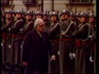 Vienna Presidential Palace EXT GV Guard of honour massed outside building MS Line guard of honour stand to attention CMS Henry Grunwald LR inspecting...
