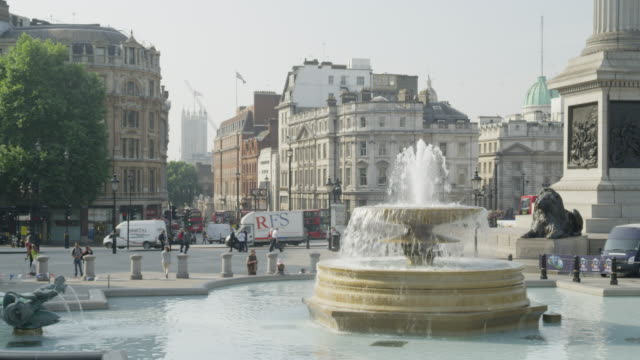 A view across the fountains of Trafalgar Square