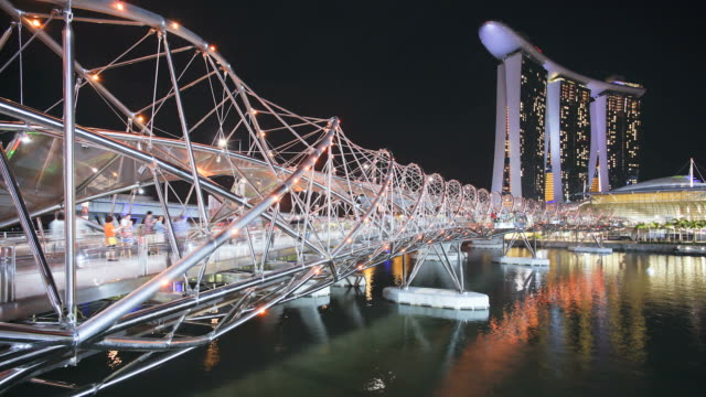 View along Helix Bridge to Marina Bay Sands Singapore. Marina Bay, Singapore
