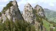 WS AERIAL View along  rock needles of Schar / Goggeien, St. Gallen, Switzerland