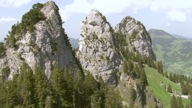 WS AERIAL View along  rock needles of Schar / Goggeien, St. Gallen, Switzerland