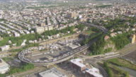 WS AERIAL ZI View approach to Lincoln Tunnel with traffic / New Jersey, United States