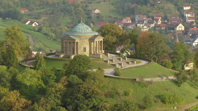 WS AERIAL ZI View approach tot Burial Chapel castle on Rotenberg / Stuttgart, Baden Wurttemberg