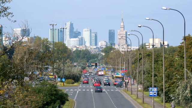 View at downtown district in Warsaw Poland