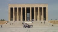 WS View Atatürk 's Maosoleum and people passing in front / Ankara, Central Anatolia, Turkey