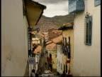View down narrow street of Cusco, Peru