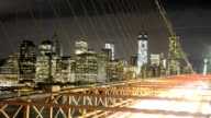 LAPSE View Freedom Tower from the Brooklyn Bridge Lower Manhattan New York City USA