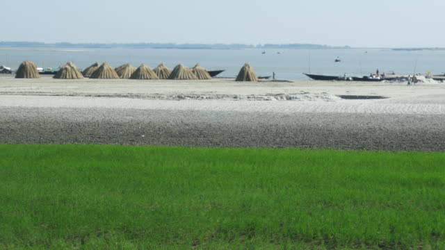 View from a river bank in Northern Bangladesh with freshly planted rice jute stockpiled for sale traditional transit boats on open water