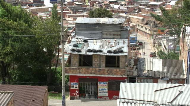 WS HA View from above of Ciudad Bolivar slum / Bogota, Colombia