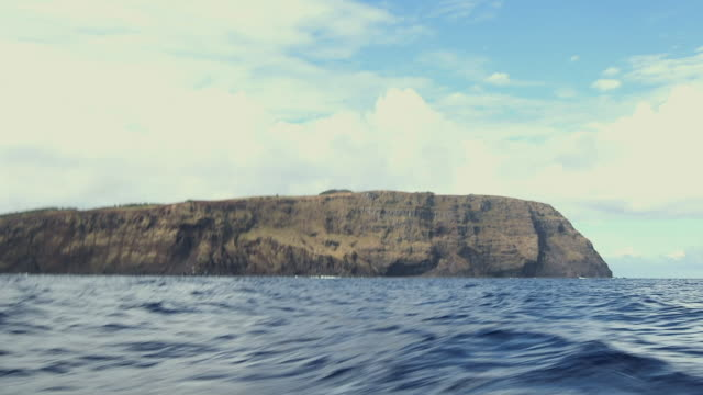 WS POV View from boat of Easter Island / Rapa Nui National Park, Easter Island, Chile