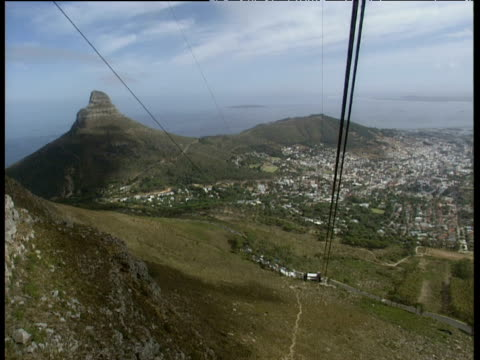 View from cable car as it travels up Table Mountain Cape Town and Lion's Head below.