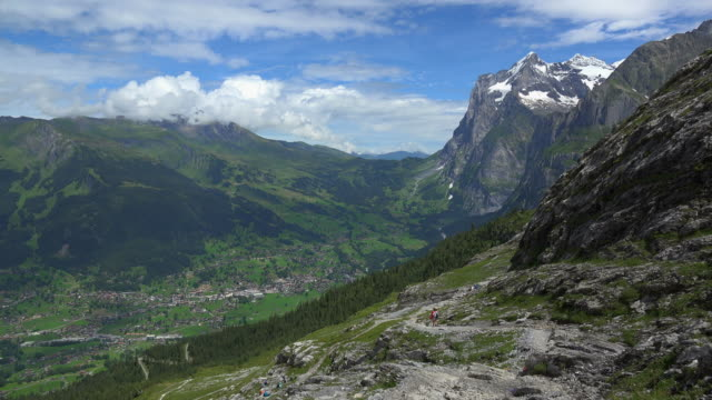 View from Eiger Trail to Grindelwald and Wetterhorn, Bernese Alps, Switzerland, Europe