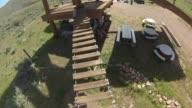 KSTU View from GoPro Camera of Walking Across Swaying Wood Bridges While Attached to a Zipline at Zipline Utah at Deer Creek Reservoir in Salt Lake...