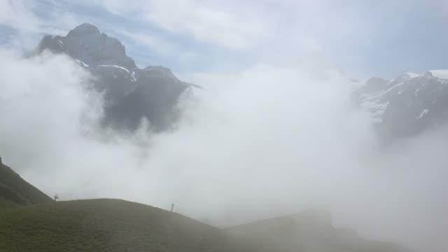 View from Grindelwald-First to Wetterhorn and Schreckhorn, Bernese Alps, Switzerland, Europe