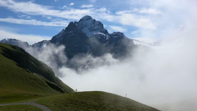 View from Grindelwald-First to Wetterhorn, Bernese Alps, Switzerland, Europe