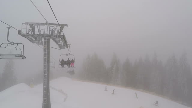 View from the ski lift. Ski trail and ski lift with skiers.