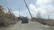 View from vehicle on road of hurricane debris and wreckage in St John US Virgin Islands on September 12 2017 Photographer Michael Nagle Shots POV...