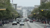 WS view looking down Congress Ave from Texas state capitol building with traffic