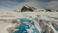 WS AERIAL View low over ponds in Bering Glacier / Alaska, United States