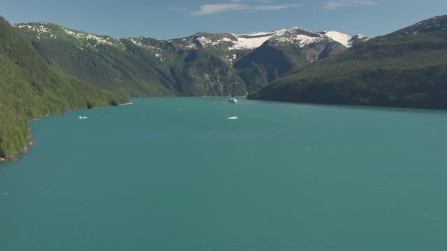 WS AERIAL View low over trees to Tracy Arm entrance with cruise ship in distance / Alaska, United States