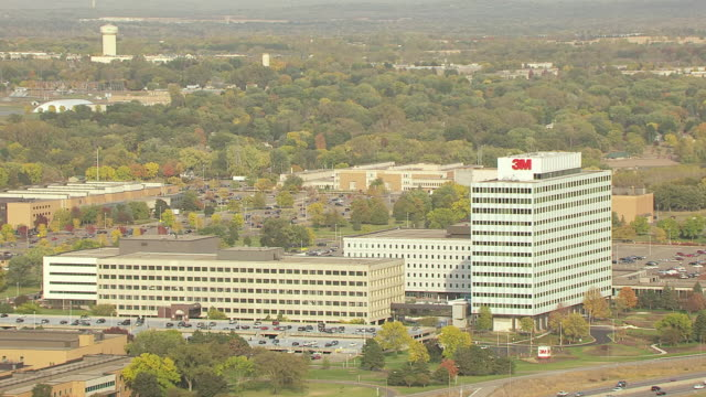 WS AERIAL View of 3M Headquarters buildings / Minneapolis, Minnesota, United States