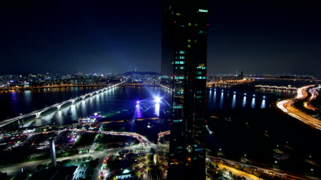 View of 63 Building (remain the tallest skyscraper in Korea until 2009) and Wonhyodaegyo Bridge at night