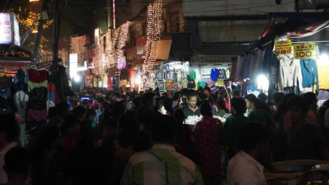 A view of a crowded market place during Diwali in Delhi, India