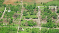 WS AERIAL View of Abandoned house at Tar Creek Superfund Site / Treece, Oklahoma, United States