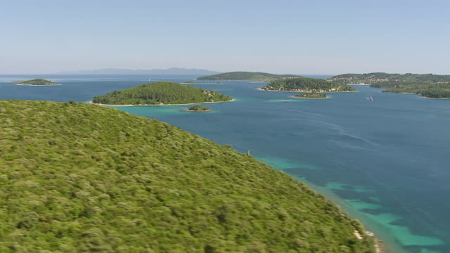 WS AERIAL View of Adriatic sea and harbor / Korcula, Dubrovnik Neretva County, Croatia