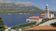 View of Adriatic Sea and Samostan Svetog Nikole Church, Korcula, Dalmatia, Croatia, Europe