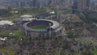 WS AERIAL DS View of AFL stadium / Deniliquin, New South Wales, Australia